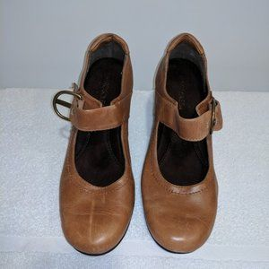 Women's Shoes T-strap Flare Heel Brown Leather 8.5